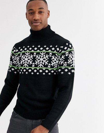 Dolcevita natalizio nero con motivo Fair Isle - Threadbare  uomo Nero