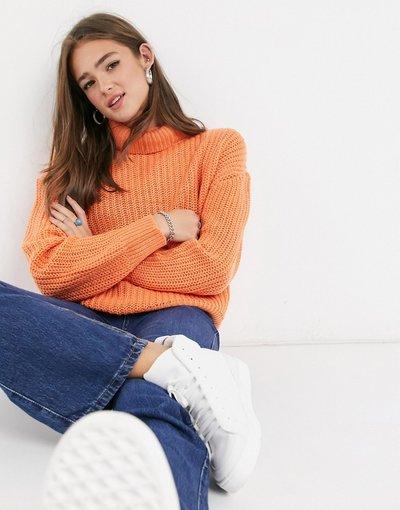 Arancione donna Maglione stile pescatore accollato lavorato a maglie grosse - Threadbare - Arancione - Grace
