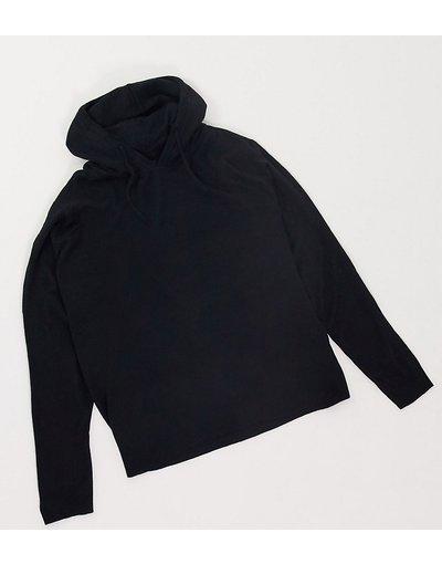 Nero uomo Maglione nero morbido con cappuccio - Threadbare Plus