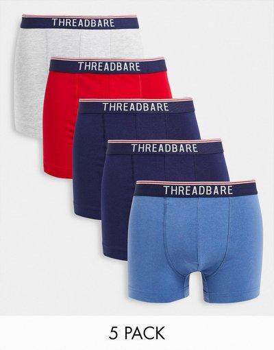 Intimo Blu navy uomo Confezione da 5 boxer aderenti con bordi a contrasto in multicolore - Threadbare - Tenysi - Blu navy