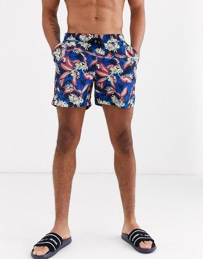 Costume Blu uomo Boxer da bagno a fiori di media lunghezza - Tommy Hilfiger - Blu