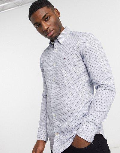 Camicia Blu uomo Camicia slim con stampa a pois - Tommy Hilfiger - Blu
