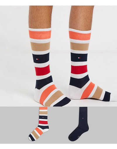 Calze Multicolore uomo Confezione da 2 paia di calzini a righe color block - Tommy Hilfiger - Multicolore