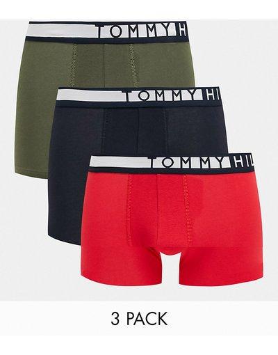 Intimo Multicolore uomo Confezione da 3 boxer aderenti con logo in vita verde oliva/rosso/blu navy - Tommy Hilfiger - Multicolore
