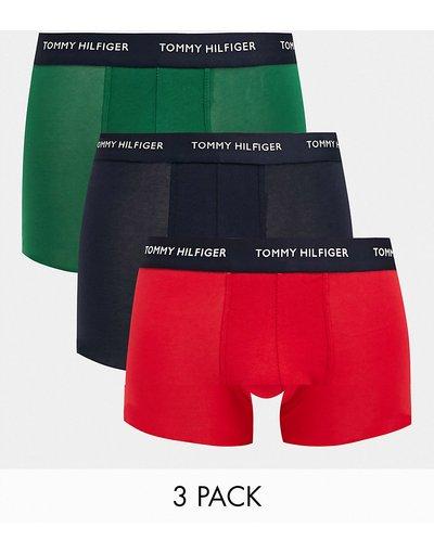 Calze Blu navy uomo Confezione da 3 boxer aderenti nero/verde/rosso con elastico con logo - Tommy Hilfiger - Blu navy