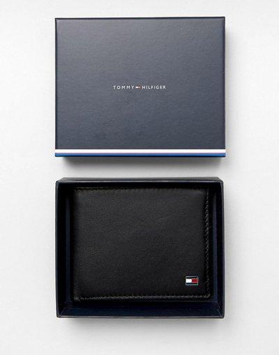 Portafoglio Nero uomo Portafoglio a libro piccolo in pelle piccolo nero - Tommy Hilfiger - Eton