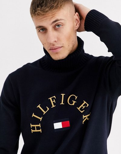 Navy uomo Maglione a collo alto blu navy con logo a bandierina ricamato - Tommy Hilfiger