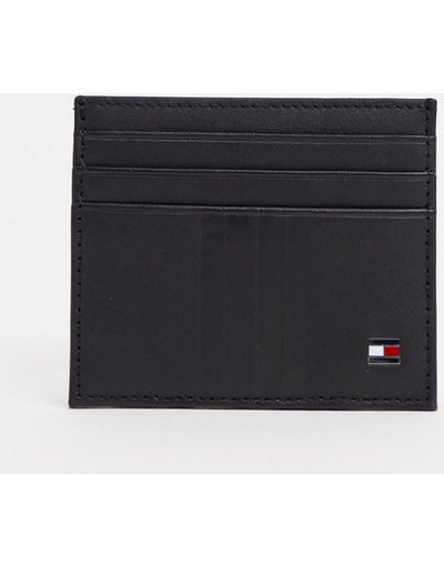 Portafoglio Nero uomo Portacarte nero con logo a bandiera - Tommy Hilfiger - Metro