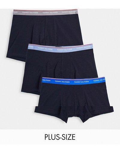 Intimo Blu navy uomo Confezione da 3 paia di boxer aderenti blu navy con elastico a contrasto - Tommy Hilfiger Plus