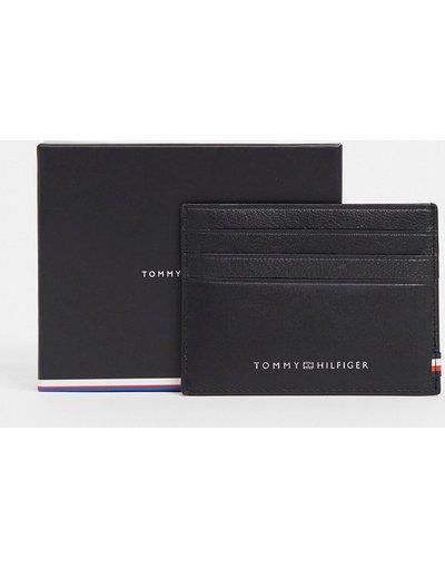 Portafoglio Nero uomo Portacarte in pelle nera con logo - Tommy Hilfiger - Nero