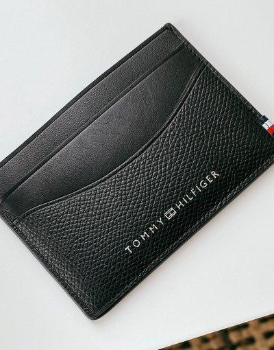 Portafoglio Nero uomo Portacarte nero in pelle sintetica martellata con logo - Tommy Hilfiger