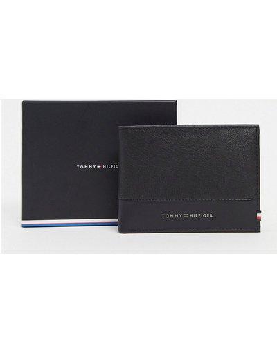 Portafoglio Nero uomo Portafoglio a libro in pelle nera con tasca portamonete - Tommy Hilfiger - Nero