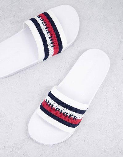 Novita Bianco uomo Sliders bianche con logo a bandiera in maglia - Tommy Hilfiger - Bianco