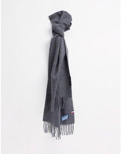 Grigio uomo Sciarpa in lana grigia con logo a bandiera - Tommy Hilfiger - Uptown - Grigio