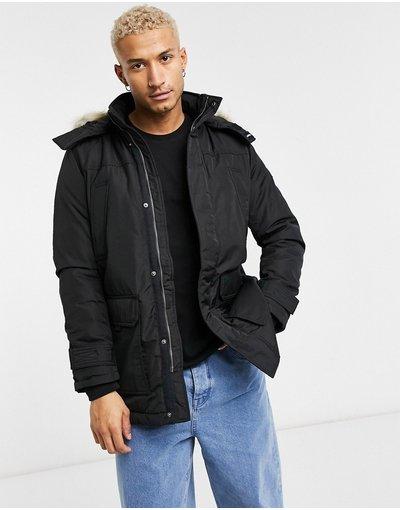 Nero uomo Parka tecnico trapuntato con bordo in pelliccia sintetica nero - Tommy Jeans