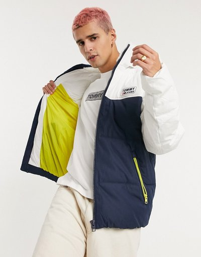 Bianco uomo Piumino con cappuccio colorblock bianco/blu navy - Tommy Jeans