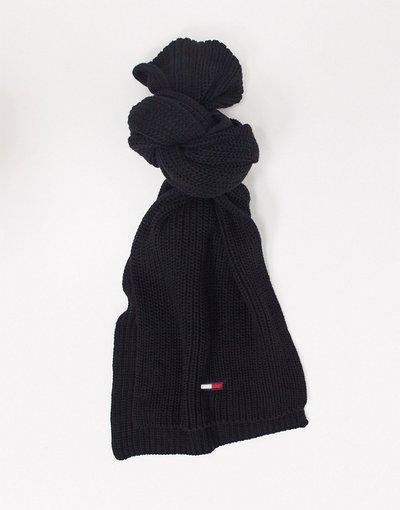 Nero uomo Sciarpa basic nera a coste con logo a bandiera - Tommy Jeans - Nero