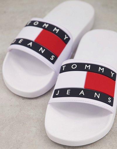 Novita Bianco uomo Sliders bianche con logo con bandiera - Tommy Jeans - Bianco