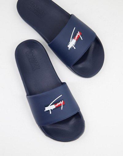 Novita Blu navy uomo Sliders blu navy con logo - Tommy Jeans