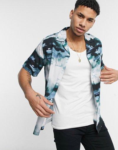 Camicia Blu uomo Camicia blu con stampa astratta - Topman