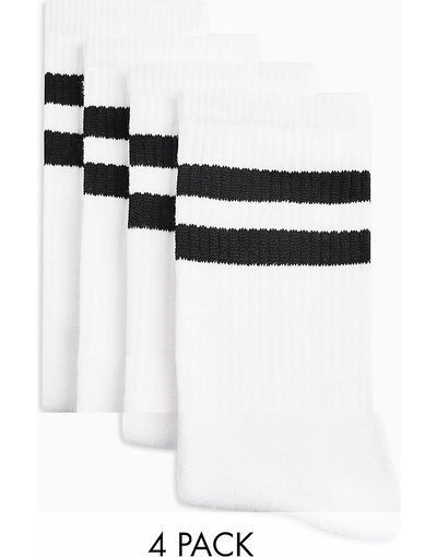 Calze Bianco uomo Confezione da 4 calzini tubolari bianchi con righe nere - Topman - Bianco