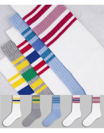 Intimo Multicolore uomo Confezione da 5 paia di calzini tubolari a righe - Multicolore - Topman
