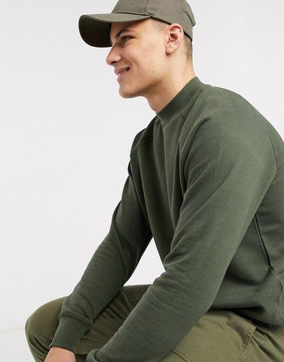 Felpa Verde uomo Felpa in jersey kaki con maniche raglan - Topman - Verde
