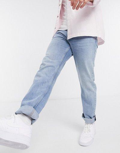 Jeans Blu uomo Jeans dritti lavaggio chiaro - Topman - Blu