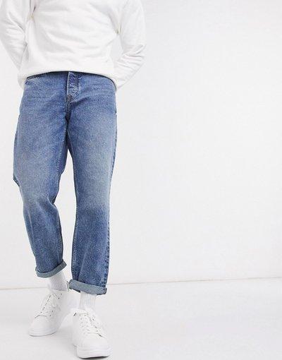 Jeans Blu uomo Jeans larghi lavaggio blu medio - Topman