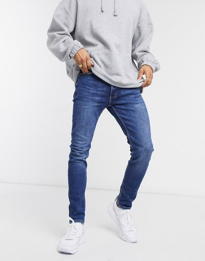 Jeans Blu uomo Jeans skinny lavaggio medio - Topman - Blu