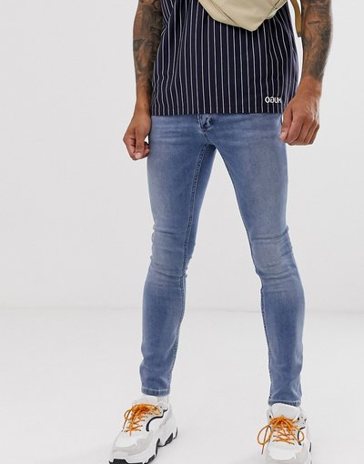 Jeans Blu uomo Jeans spray on lavaggio blu chiaro - Topman