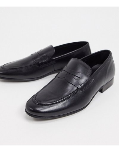 Scarpa elegante Nero uomo Mocassini in pelle nera - Topman - Nero