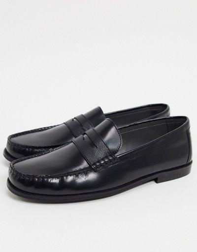 Scarpa elegante Nero uomo Mocassini in pelle neri - Topman - Nero