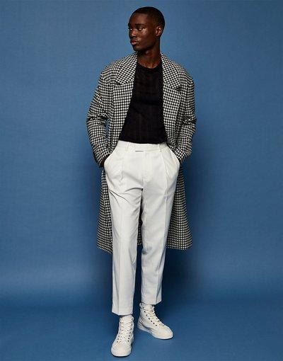Bianco uomo Pantaloni affusolati in twill écru - Topman - Bianco