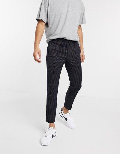 Pantalone Navy uomo Pantaloni blu navy gessato - Topman