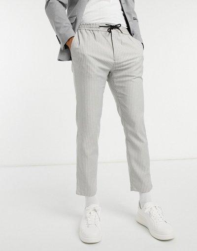 Grigio uomo Pantaloni eleganti grigi a righe larghe - Topman - Grigio