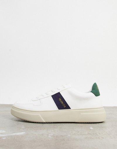 Stivali Bianco uomo Sneakers bianche con riga blu navy - Topman - Bianco