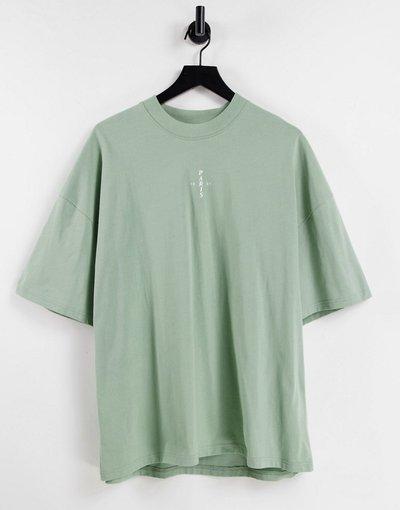 Novita Verde uomo shirt oversize accollata verde con logo Paris in gomma - Topman - T