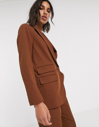 Marrone donna Blazer cioccolato in coordinato - Topshop - Marrone