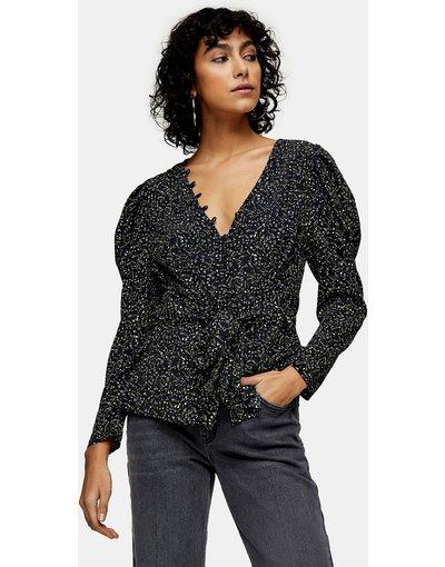 Camicia Nero donna Blusa con bottoni frontali nera e verde a fiori - Topshop - Nero