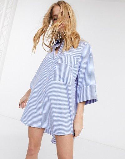 Camicia Blu donna Blusa oversize in popeline blu a righe - Topshop