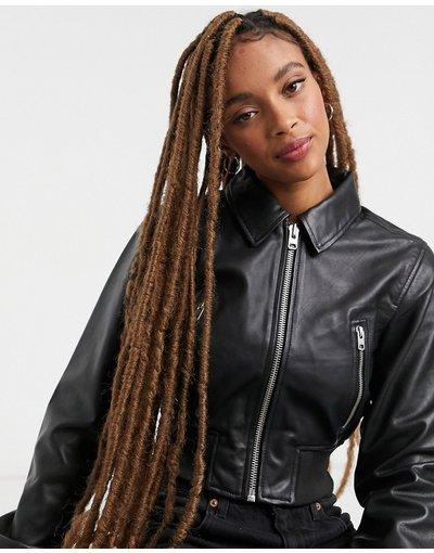 Nero donna Bomber nero in pelle premium - Topshop