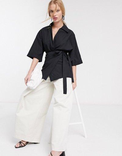 Camicia Nero donna Camicia a portafoglio in popeline nera - Topshop Boutique - Nero