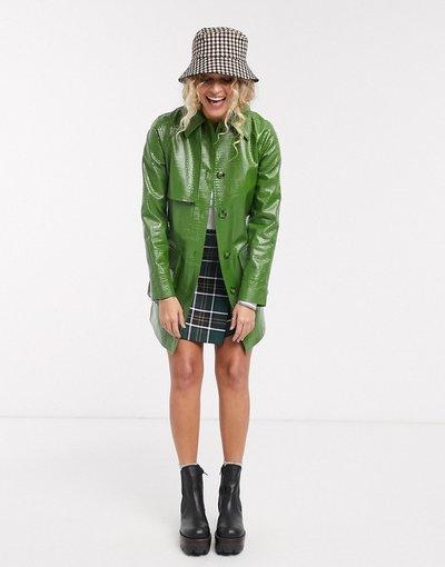 Verde donna Camicia giacca verde effetto coccodrillo - Topshop