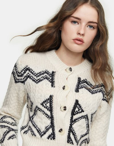 Multicolore donna Cardigan corto nero e bianco - Multicolore - Topshop