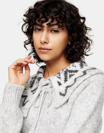 Grigio donna Cardigan in maglia grigio con colletto in motivo Fair - Topshop - Isle