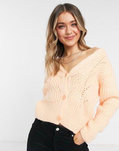 Arancione donna Cardigan in maglia traforata rosa pesca - Arancione - Topshop