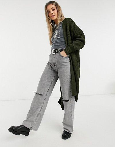Verde donna Cardigan taglio lungo kaki - Topshop - Verde