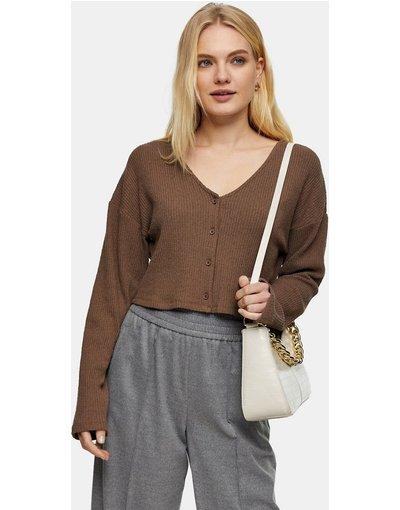 Marrone donna Cardigan soffice a coste marrone cioccolato - Topshop