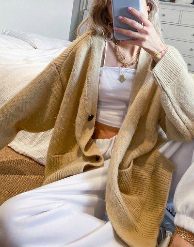 Cuoio donna Cardigan taglio lungo cammello - Topshop - Cuoio